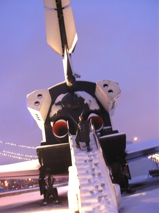 Me Standing on a lader behind the giant thrust engines of the Buran Space Shuttle