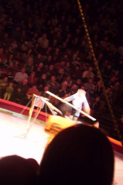 a monkey on a tightrope at great moscow state circus