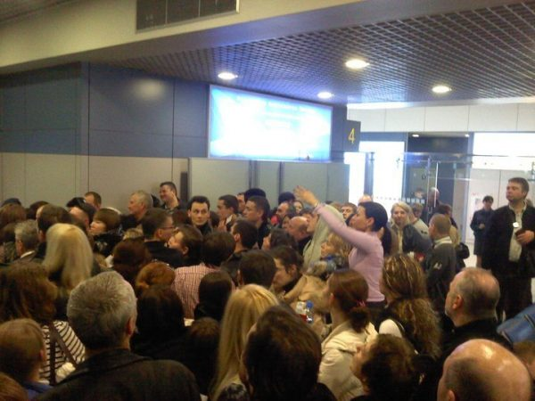 The crowd trying to board a Transaero Flight from Moscow