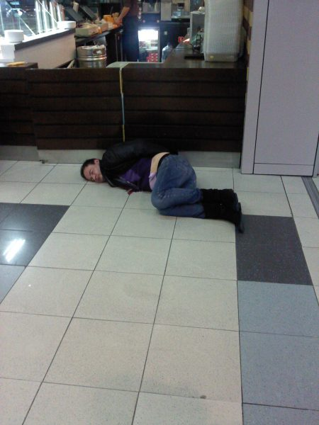 Passed out Passenger at Domodevodo Airport, Moscow, Russia