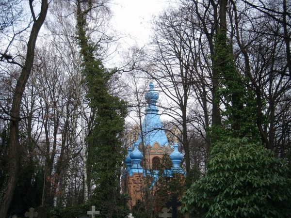 St. Konstantin und Helena Church in Berlin hidden behind the trees