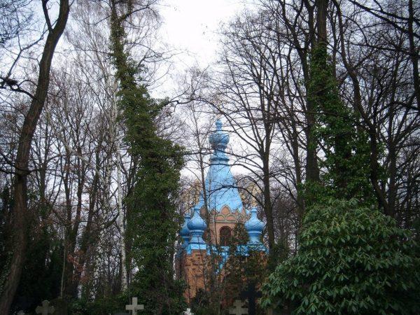 St. Konstantin und Helena Church in Berlin hidden behind the trees