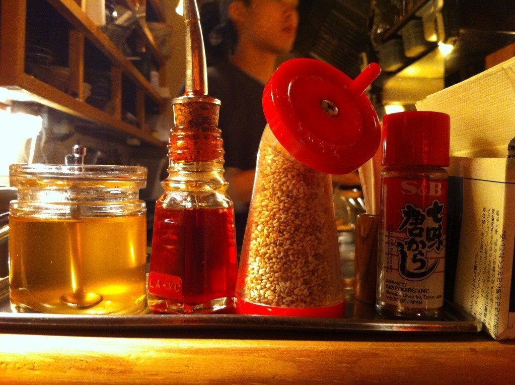Oils and Sesame Seeds in the Cocolo Ramenbar