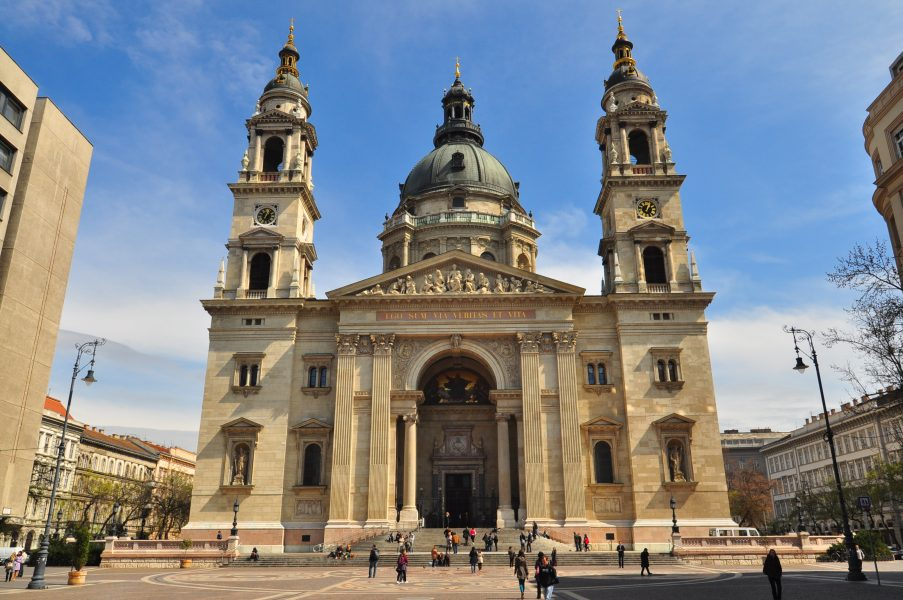 Front View of the Szent István-bazilika - St. Stephens Basilica in Budapest