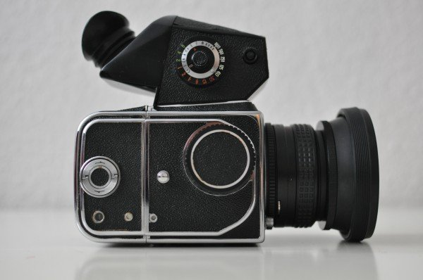Side View of a Kiev 88 with TTL Prism Finder and Rubber Sunshade lens hood
