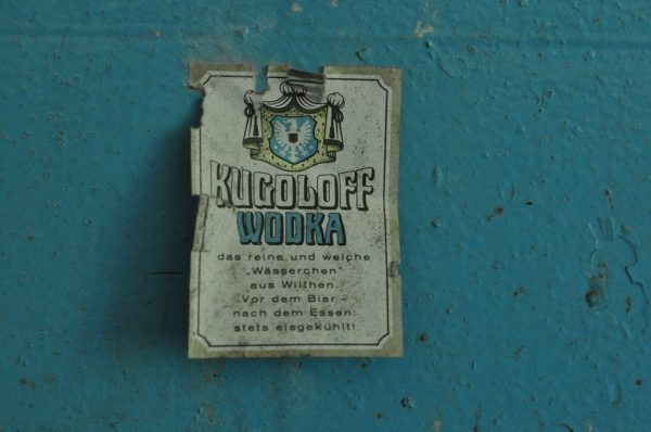 Kugoloff Wodka Label stuck on a wall