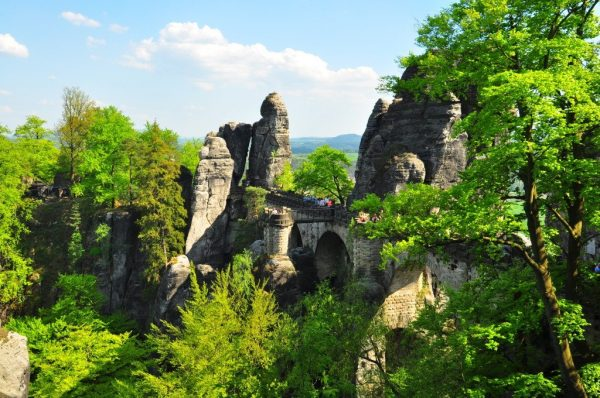 View of the Bastei Bridge in the Saxon Switzerland National Park