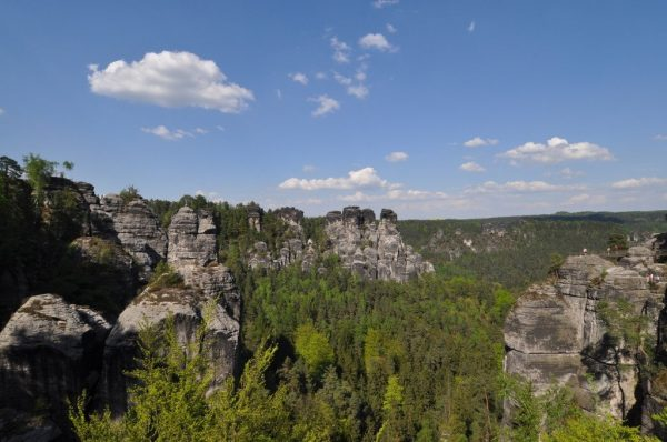 View from the Bastei Bridge over the Wehl- and Amselgrund