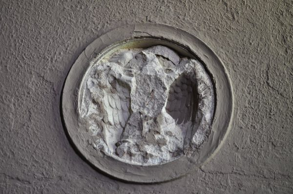 Post Soviet vandalism to one of the Eagle reliefs at the Officers Casino at the Kaserne Krampnitz