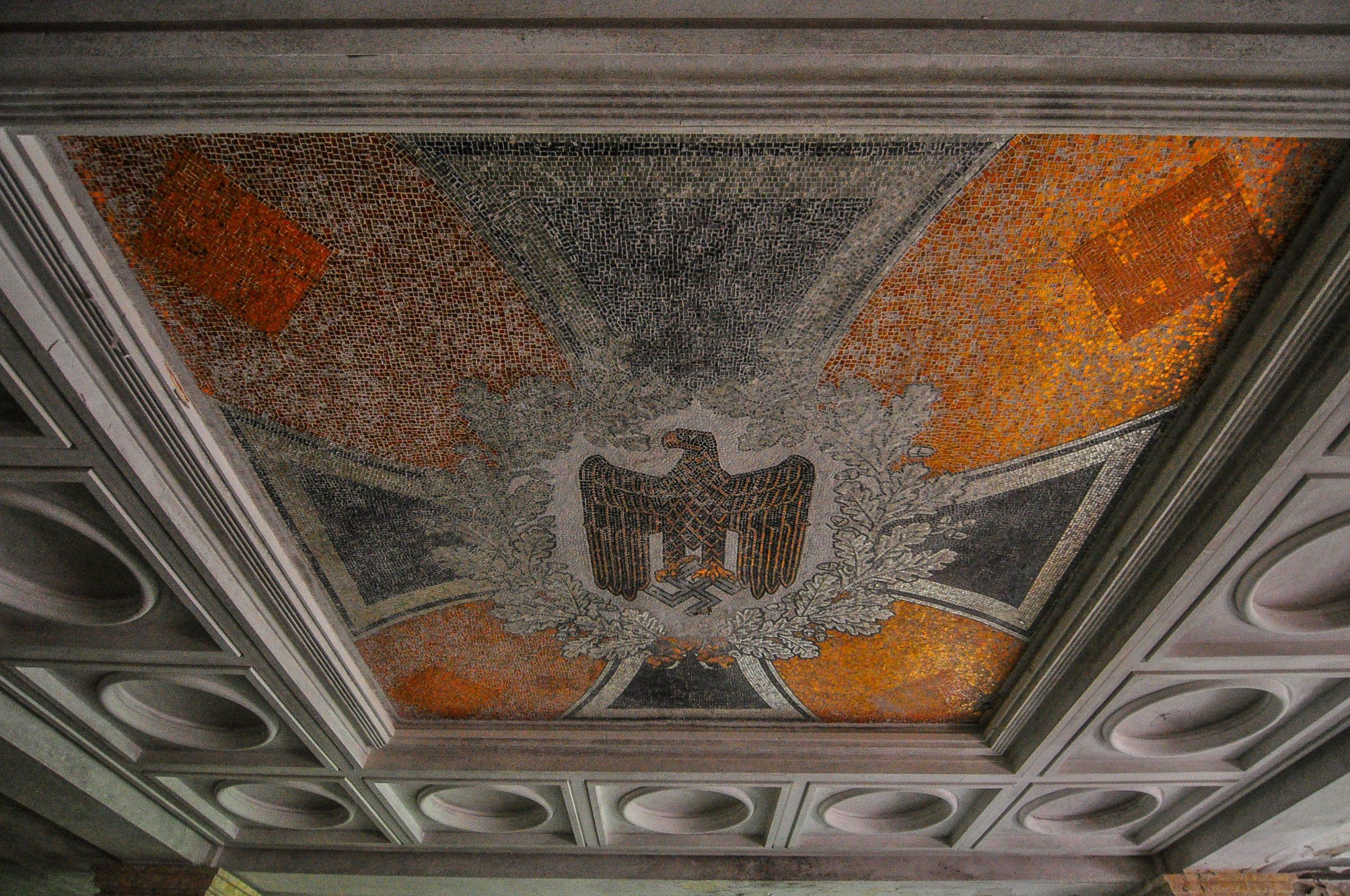 nazi eagle mosaic swastika tiles kaserne krampnitz abandoned potsdam berlin Kavallerieschule barracks Panzertruppenschule nazi soviet military base germany deutschland