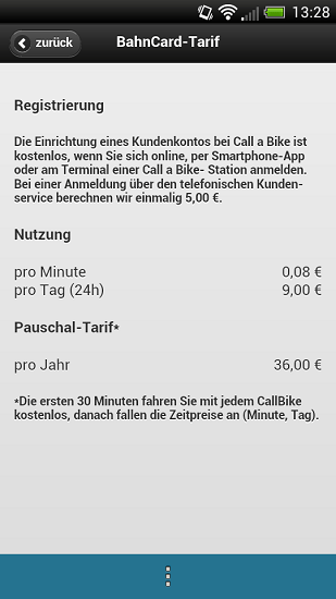 Call A Bike Android App BahnCard Prices