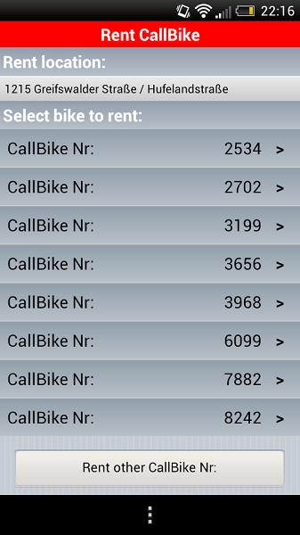 Call A Bike Rental Bike numbers