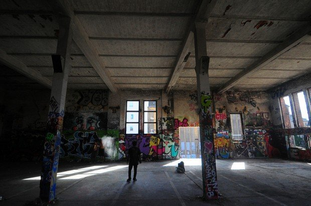 A dance group practicing in one of the empty halls of the eisfabrik