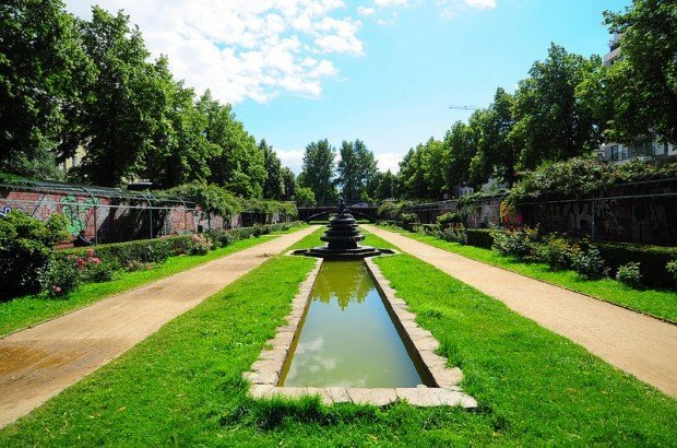 The Rose Garden and the Indian Fountain in the Luisenstaedtischer Kanal in Berlin, Germany