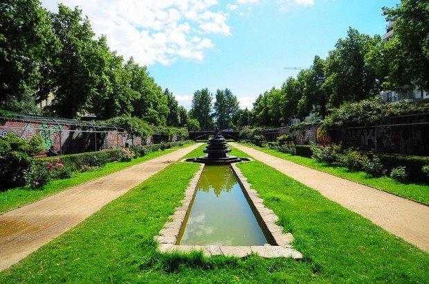 The Rose Garden and the Indian Fountain in the Luisenstaedtischer Kanal in Berlin, Germany