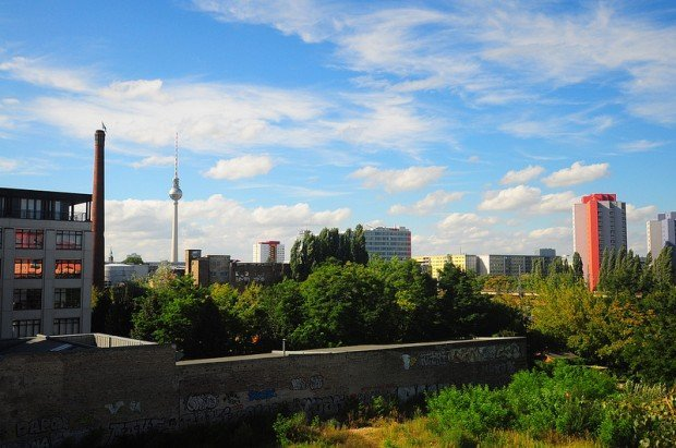 View of the Berlin TV Tower from the roof of the Eisfabrik