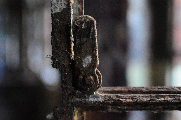 a rusting window lever