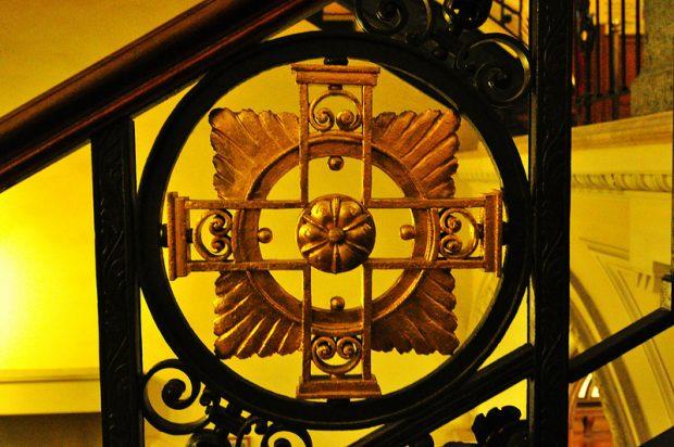 An ornate Banister Cross