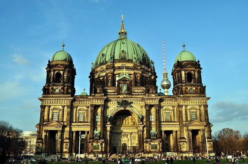 The Berliner Dom with the Fernsehturm in the background