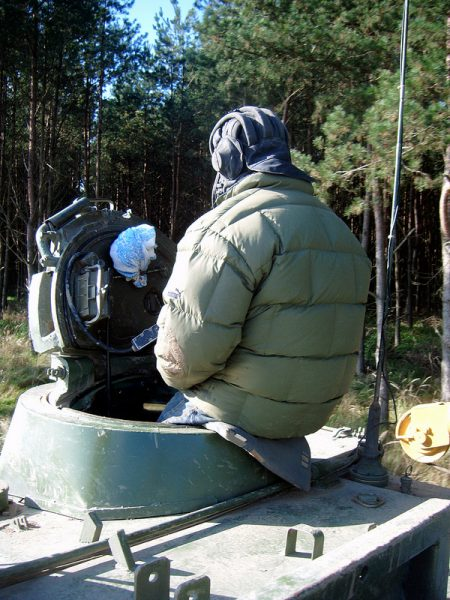 The Tank Instrucor sitting on top of the Command Hatch