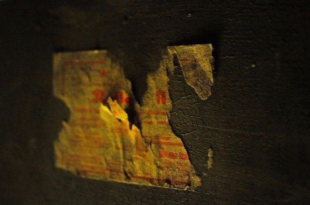 torn door label