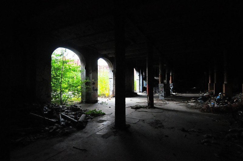 The ground floor of one of the Factory Buildings