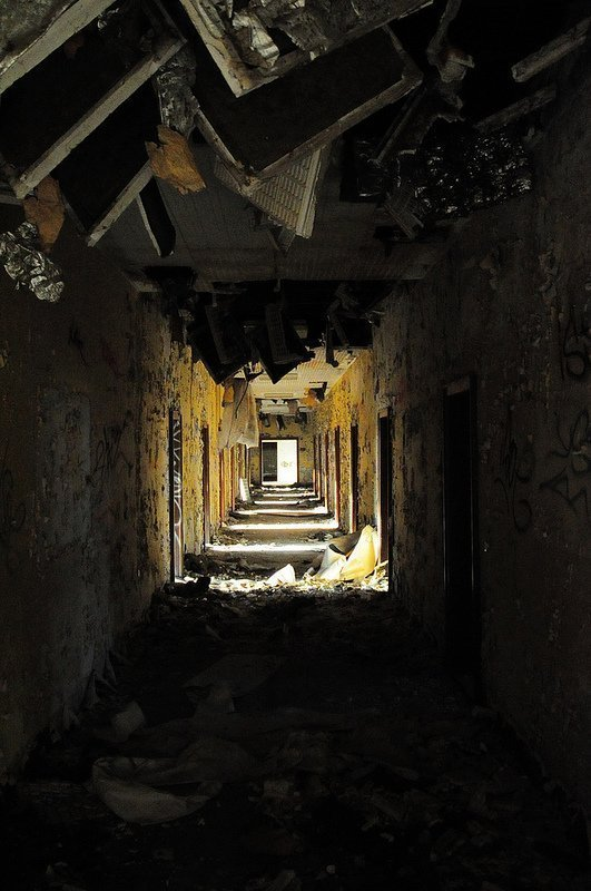trashed and crumbling hallway