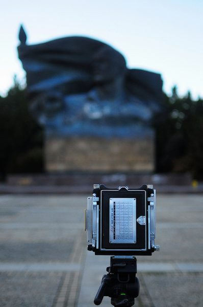 A Linhof Camera taking a photo of the Ernst Thaelmann Monument
