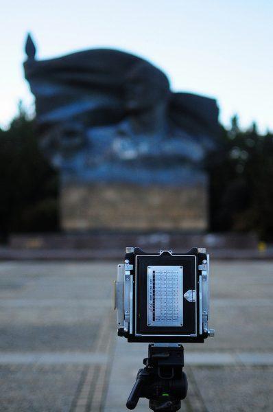 A Linhof Camera taking a photo of the Ernst Thaelmann Monument