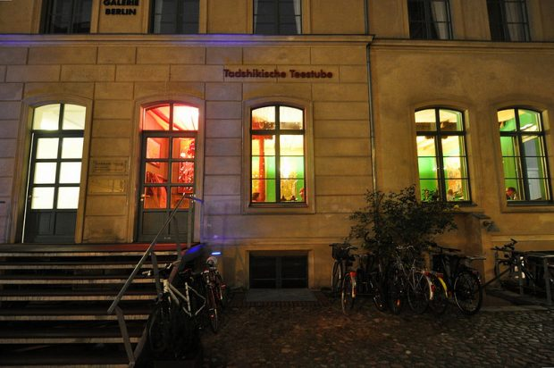 Entrance of the Tadschikische Teestube in Berlin, Germany