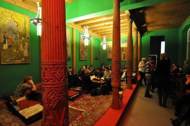 inside the tadschikische teestube in berlin, germany