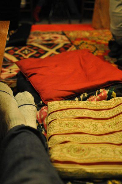 pillows in the tadjik tearoom in berlin, germany