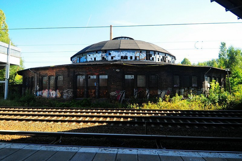 The Bahnbetriebswerk Pankow Heinersdorf seen from Sbahn platform