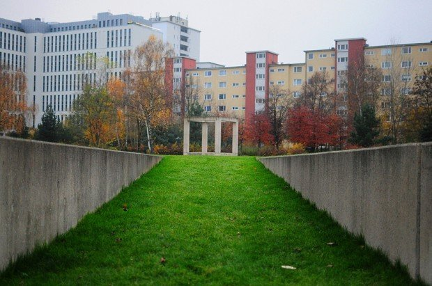 former prison wing with sunken lawn