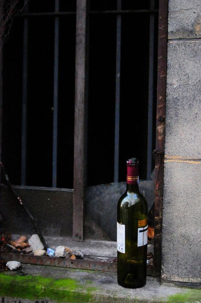 abandoned wine bottle