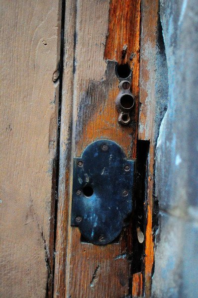damaged lock on the eglise du bon pasteur in lyon, france