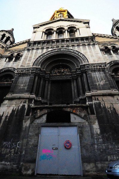 entrance portal of the abandoned Bon Pasteur Church in lyon, france