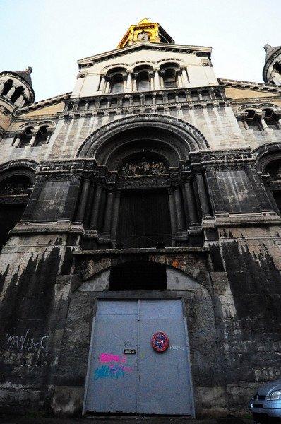entrance portal of the abandoned Bon Pasteur Church in lyon, france