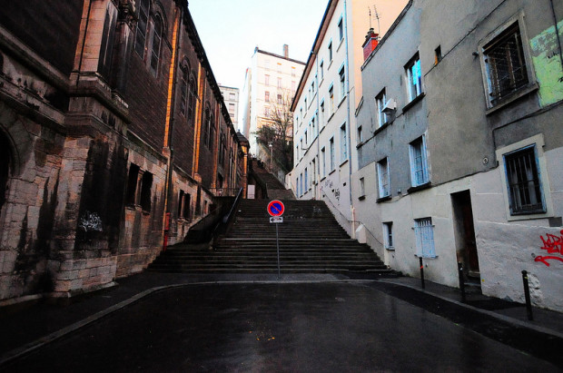 stairs next to the eglise du bon pasteur in lyon, france
