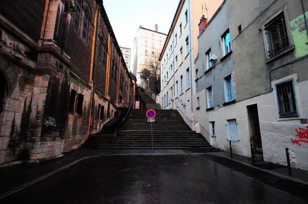 stairs next to the eglise du bon pasteur in lyon, france