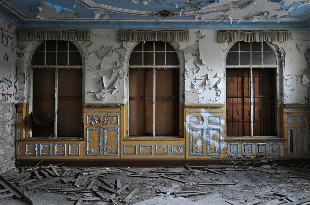 small ballroom of the abandoned ballhaus riviera