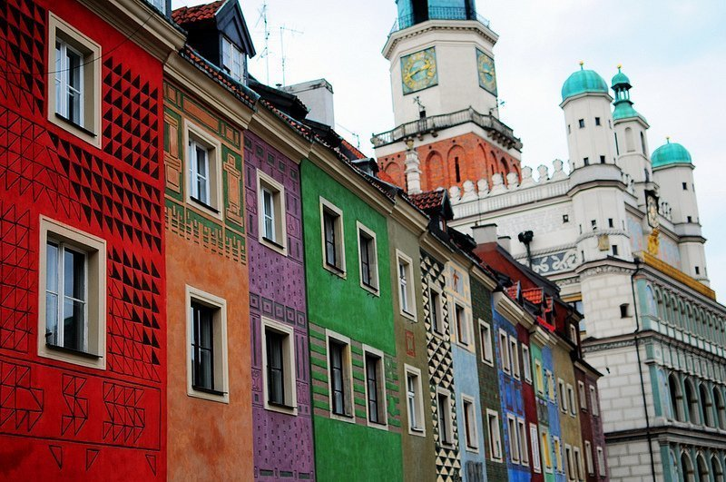 Colorful Houses at the Old Market in Poznan, Poland