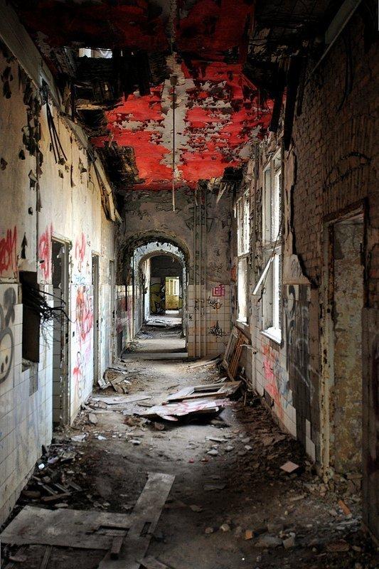 peeling paint hallway