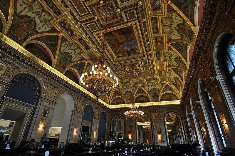 cafe parisi budapest fresco ceiling lotz terem budapest hungary