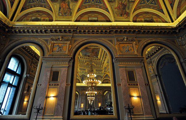mirror view alexandra bookcafe budapest hungary