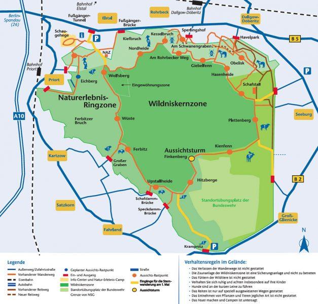Projektkarte Wanderwege Sielmanns Naturlandschaft