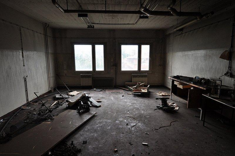 empty photo lab room