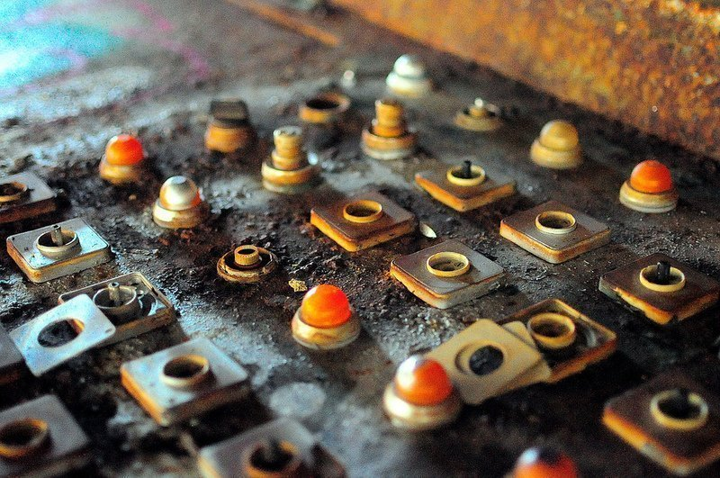 abandoned factory control panel