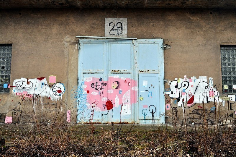 abandoned aircraft hangar door