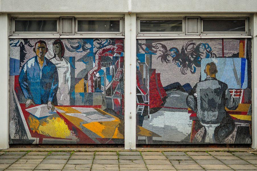 rechenzentrum potsdam germany deutschland ddr mosaic mosaik arbeiter ingenieure